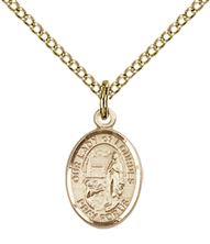 "14KT GOLD FILLED OUR LADY OF LOURDES PENDANT WITH CHAIN - 1/2"" x 1/4"""