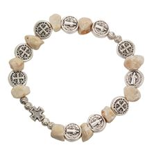 ST. BENEDICT and STONE BEAD STRETCH BRACELET
