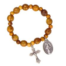 OLIVE WOOD ROSARY BRACELET WITH MIRACULOUS MEDAL