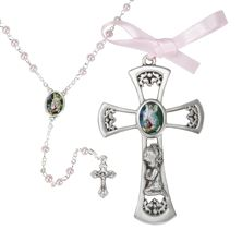 PEWTER CRIB CROSS AND ROSARY SET - GIRL