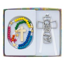 BABY CROSS AND ROSARY SET