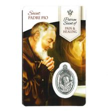 PADRE PIO HOLY CARD WITH MEDAL FOR HEALING