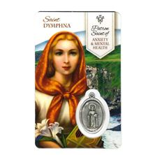 HEALING SAINT DYMPHNA - HOLY CARD WITH MEDAL