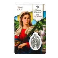 HEALING SAINT LUCY - HOLY CARD WITH MEDAL
