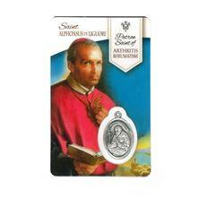 HEALING SAINT ALPHONSUS - HOLY CARD WITH MEDAL