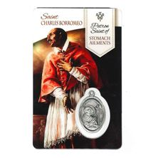HEALING SAINT CHARLES - HOLY CARD WITH MEDAL