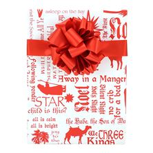 CHRISTMAS CAROLS RED and WHITE GIFT WRAP