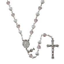 PEARL AND PINK HEART BEAD COMMUNION ROSARY