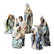 BLUE TONE 5 PIECE NATIVITY SET