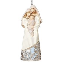 HOLY FAMILY LASER CUT SILVER AND BLUE ORNAMENT
