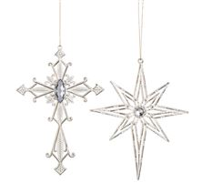 CROSS AND STAR SILVER ORNAMENTS WITH STONE SET