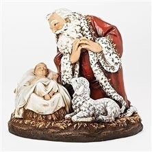KNEELING SANTA WITH SLEEPING BABY JESUS