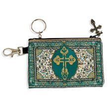 TEAL AND GOLD TAPESTRY ROSARY POUCH KEY CHAIN
