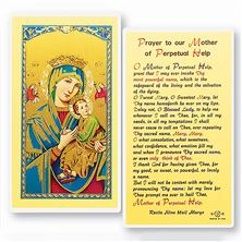 LAMINATED HOLY CARD - MOTHER OF PERPETUAL HELP