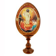 SOLID WOOD RESURRECTION ICON EGG