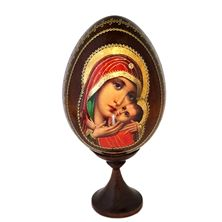 VIRGIN MARY AND CHRIST WOOD EGG ICON