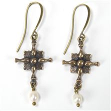 DIVINE GUIDANCE CREED CROSS CREAM PEARL EARRINGS