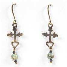 REDEMPTION CROSS WITH MAGNESITE TURQUOISE EARRINGS