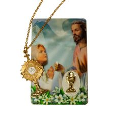 FIRST COMMUNION MONSTRANCE PENDANT AND CARD-GIRL