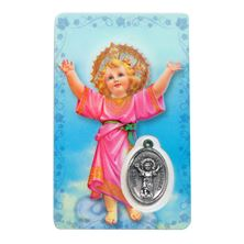 DIVINO NINO HOLY CARD WITH MEDAL IN SPANISH