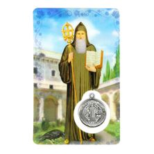 ST. BENEDICT HOLY CARD WITH MEDAL