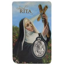 ST. RITA HOLY CARD WITH MEDAL