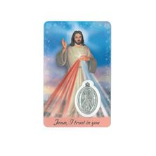 DIVINE MERCY HOLY CARD WITH MEDAL
