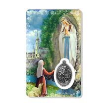 OUR LADY OF LOURDES HOLY CARD WITH MEDAL
