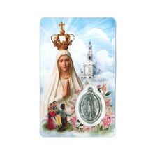 NUESTRA SENORA DE FATIMA HOLY CARD WITH MEDAL