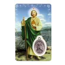 SAN JUDAS TADEO HOLY CARD WITH MEDAL IN SPANISH