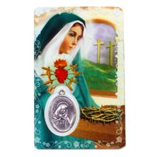 SORROWFUL MOTHER HOLY CARD WITH MEDAL