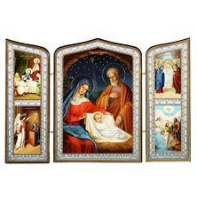 HOLY FAMILY NATIVITY OF CHRIST TRIPTYCH