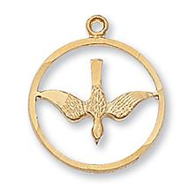 GOLD OVER SILVER HOLY SPIRIT DOVE PENDANT