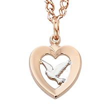 ROSE GOLD TWO-TONE DOVE IN HEART PENDANT