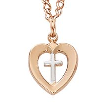 ROSE GOLD TWO-TONE CROSS IN HEART MEDAL