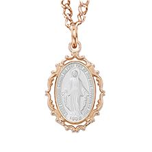 ROSE GOLD AND SILVER FANCY MIRACULOUS MEDAL