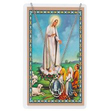 OUR LADY OF FATIMA PENDANT and PRAYER CARD SET