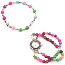 PINK and GREEN MARBLE ROSARY WATCH SET