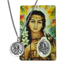 ST. KATERI MEDAL WITH RELIC AND HOLY CARD