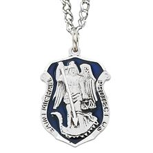 SAINT MICHAEL BADGE MEDAL WITH BLUE ENAMEL