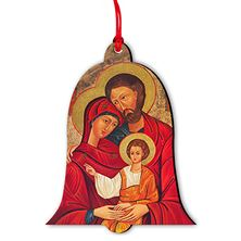 HOLY FAMILY ICON BELL SHAPED CHRISTMAS ORNAMENT (MINI)