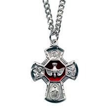 4-WAY HOLY SPIRIT MEDAL STERLING WITH RED ENAMEL