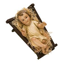 INFANT JESUS IN GOWN WITH CRIB