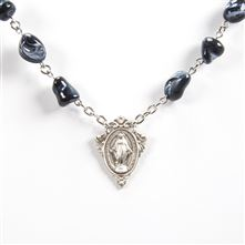 MIRACULOUS MEDAL SILVER and BLACK NUGGET NECKLACE