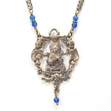 OUR LADY OF THE ANGELS BLUE SWAROVSKI NECKLACE