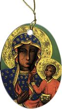 OUR LADY OF CZESTOCHOWA PORCELAIN ORNAMENT