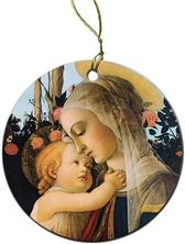 VIRGIN AND HER CHILD PORCELAIN ORNAMENT