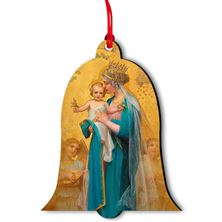 MADONNA AND CHILD BELL SHAPED WOOD ORNAMENT
