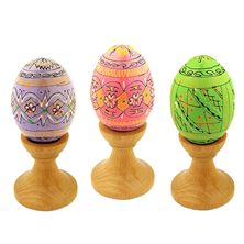 SET OF 3 PASTEL PYSANKY EGGS WITH STANDS