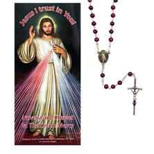 DIVINE MERCY BURGUNDY ROSARY and PAMPHLET